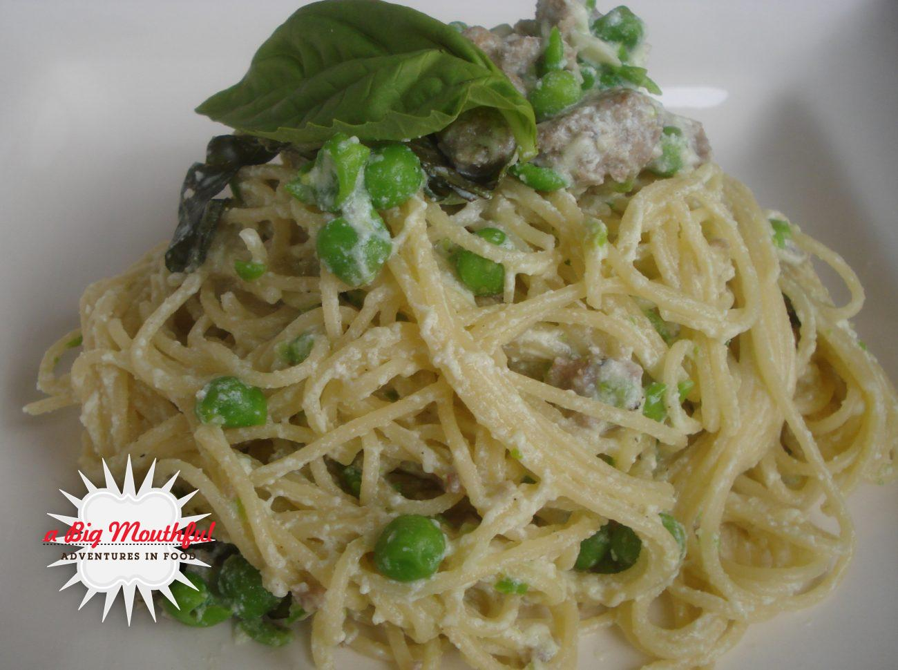 Tagliatelle with Smashed Peas, Sausage and Ricotta Cheese