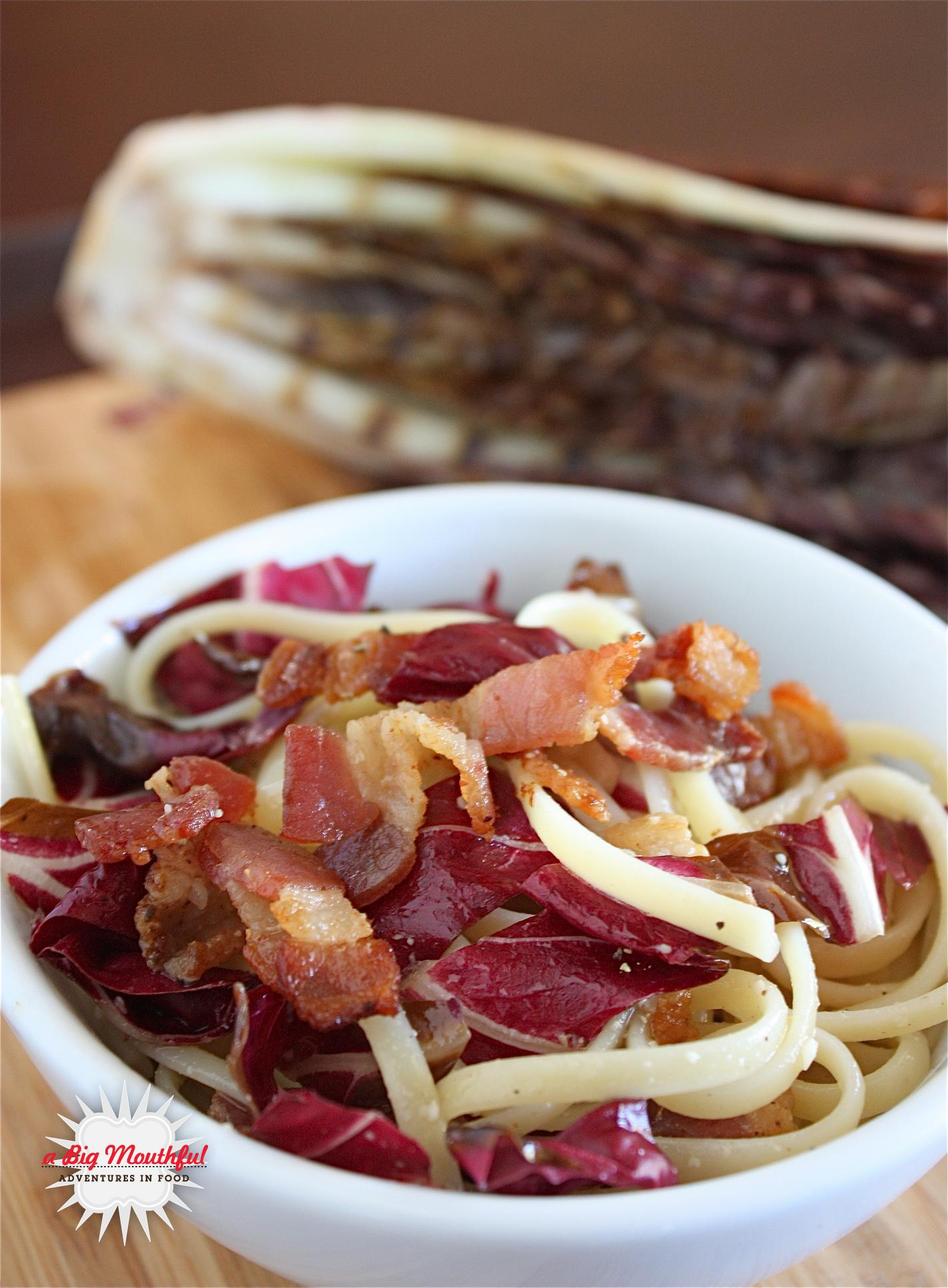 Linguine with Grilled Radicchio and Bacon