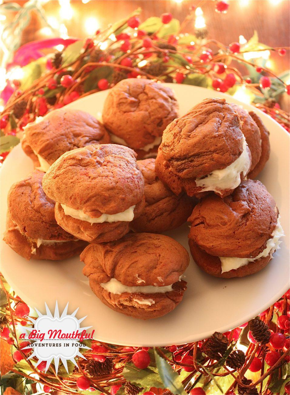Red Velvet Whoopie Pies with Peppermint Cream Cheese Filling