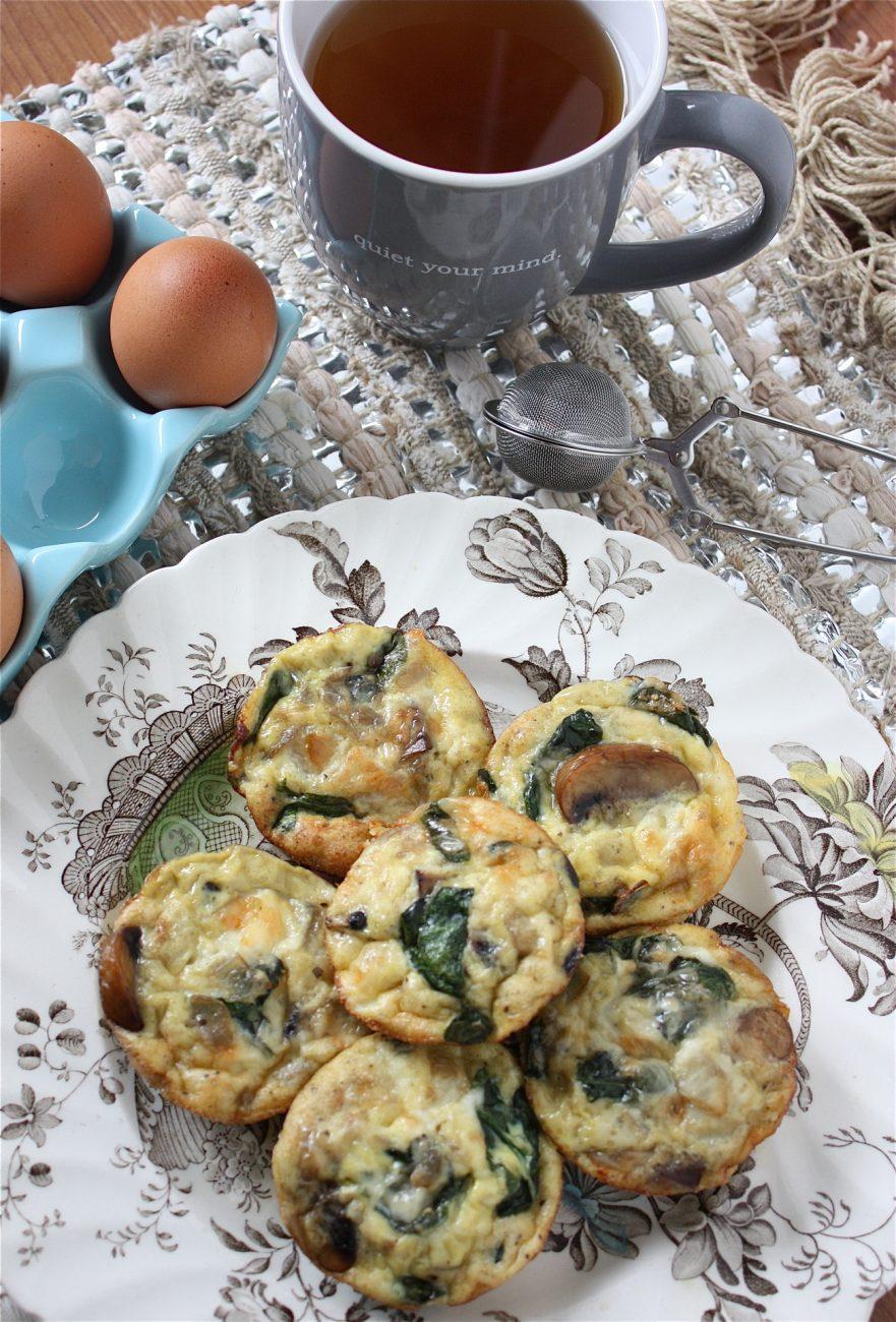 Mushroom, Spinach &  Mozzarella Mini Crustless Quiches