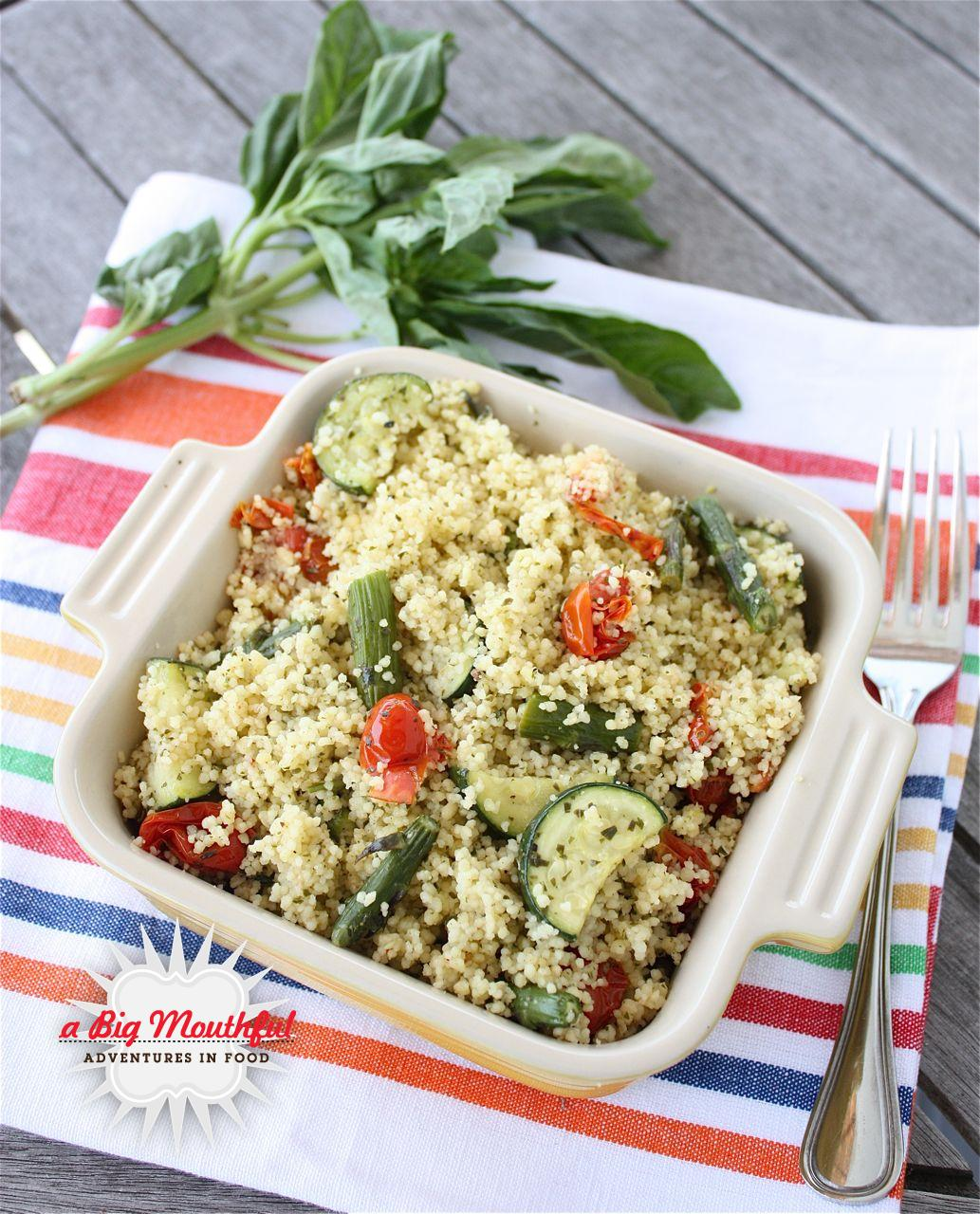 Roasted Tomato, Asparagus and Zucchini Couscous with Lemon Basil Dressing