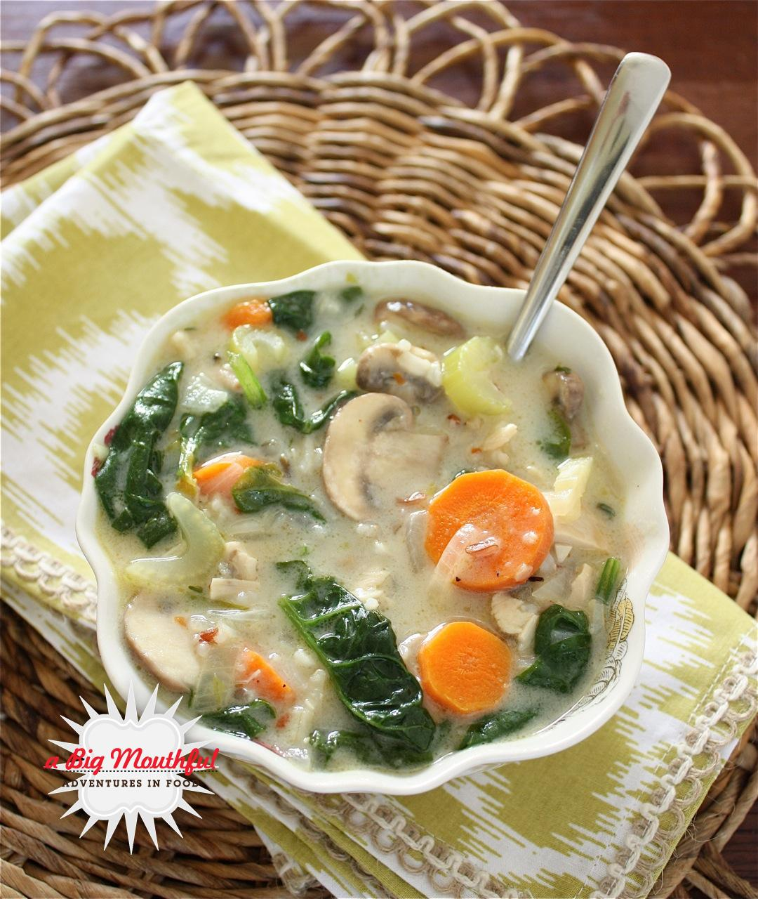 Chicken, Mushroom and Wild Rice Soup with Spinach