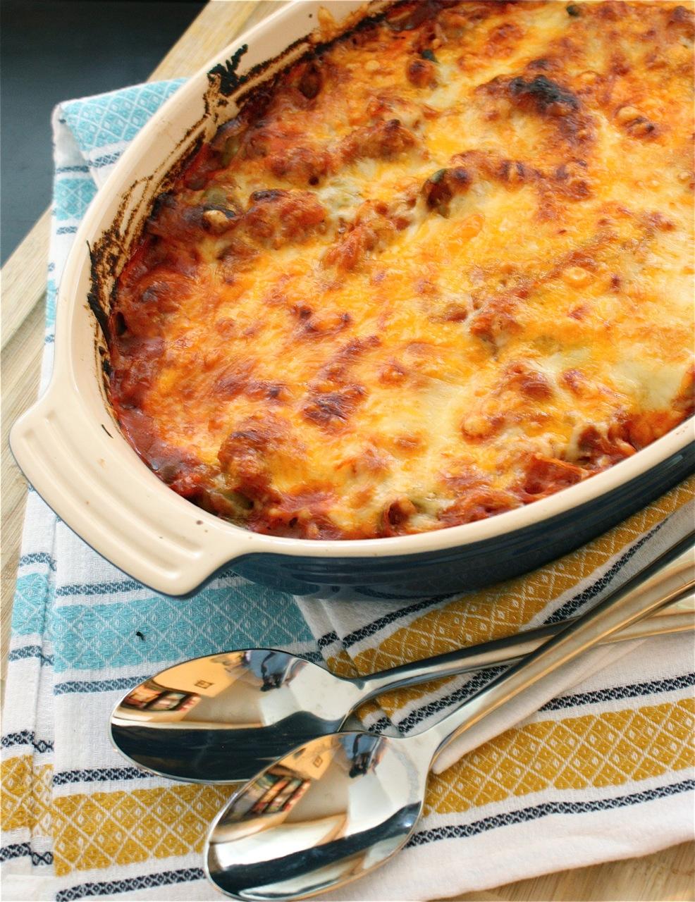Spaghetti Squash Puttanesca Bake